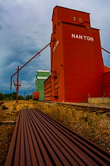 Nanton Rail (stevenbulman44) Tags: red summer cloud color canon ties landscape town elevator grain railway overcast alberta lseries nanton 1740f40l