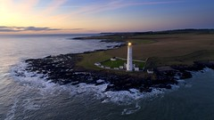 Dawn at Scurdie Ness, Angus (iancowe) Tags: scurdie ness lighthouse montrose ferryden scotland scottish angus sea north nlb northernlighthouseboard stevenson esk harbour estuary mouth drone dji phantom 4 pro aerial dawn sunrise gloaming morning