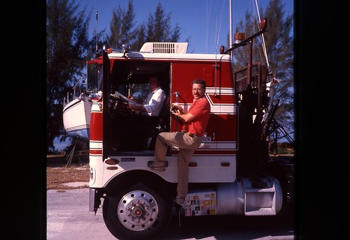Willie andthe truck that delivered the boat to Florida