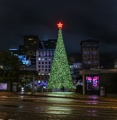 holidays on the square (pbo31) Tags: sanfrancisco california nikon d810 color december 2016 boury pbo31 bayarea panoramic large stitched panorama motionblur night dark black holidays christmas lights christmastree season reflection rain wet weather unionsquare powellstreet urban shopping green