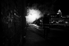 Darkness (R*Wozniak) Tags: noir fuji x100s bw blackandwhite blackwhite night steam alley women