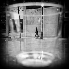 Trapped in a Plastic Cup (Something Sighted) Tags: philadelphia philadelphie philly pennsylvania mielpatisserie streetphotography scènederue window fenêtre vitrine street blackandwhite noiretblanc square