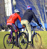 Exercise (swong95765) Tags: exercise bicycle guy gal ride riding pedal park cold outdoor
