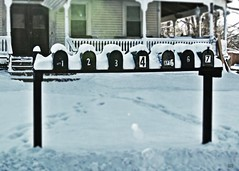 Today in New England (blamstur) Tags: snow mailboxes mailbox numbers winter seven 15challengeswinner