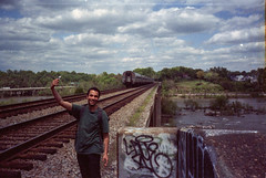 Sam (Don't Sink) Tags: railroad bridge film train 35mm river james highway amtrak expired 35 fujica