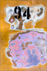 Ninety Four (Ernie Visk) Tags: pink blue brown abstract black yellow typography rust colorful rusty numbers corrosion corroded