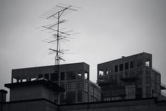 (eflon) Tags: bw canada monochrome vancouver buildings bc britishcolumbia antenna bldgs