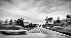 The roar of the V8,  entering Scotland (Patrick Mortko) Tags: road sky blackandwhite cloud monochrome car clouds scotland movement pentax unitedkingdom outdoor roadtrip chevy k3 chevolet bluesmobile da1650mmf28 carbagerun carbagerun2015
