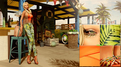 Tequila Sunrise ( Baronne ) Tags: shadow summer sun beach mannequin beautiful beauty face look fashion tattoo bar club sunrise pose garden lens french lights blog 3d model chair holidays looking mesh skin avatar tan makeup style sunny fringe blogger tequila palm sl attitude coco photograph secondlife blonde tropical accessories mode sim maquillage accessoires sims mademoiselle paillote accessory ison metaverse whitewidow gizza hairfair itgirls teefy lelutka