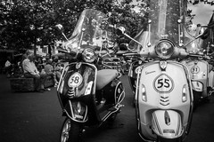 Vespa by numbers @ Breukelen (PaulHoo) Tags: street bw holland film monochrome contrast analog 35mm vespa candid transport scooter scan contax fujifilm motor tungsten moped vignetting vignette t2 breukelen 2015