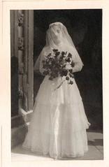 Mum Wedding 1954 (Bury Gardener) Tags: uk family wedding friends england blackandwhite bw vintage suffolk 1954 1950s relatives oldies eastanglia burystedmunds