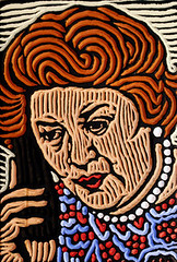 Hyacinth Bucket (Lisa Brawn) Tags: wood calgary art illustration painting design woodcuts graphics comedy artist folkart canadian carving popart alberta bbc comedian british woodcut woodcarving woodblock reclaimed salvaged woodblocks upcycled keepingupappearances lisabrawn