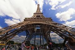 Goodbye...not to the Tour :-P (Astarotte73) Tags: paris toureiffel eiffeltower ultrawide sigma1224exdghsm tourists clouds champsdemars frombelow wonder highness 12mmfullframe france