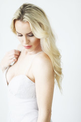 Amy (Robert_Brown [bracketed]) Tags: photo photograph blond blonde beautiful sexy blondhair pretty indoor naturallight whitegown whitedress whitebackground woman female facialexpression demure intimate lookingaway robertbrown portland oregon 10thavenuestudios model