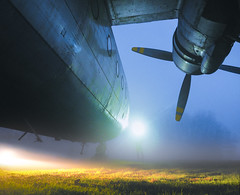 The Propellers Of Past (ThibaultPoriel) Tags: plane abandoned france night light olympus urbex