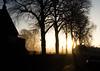 Misty Morning (The Crewe Chronicler) Tags: fuji fujix20 x20 morning sunrise church churchyard trees graves graveyard
