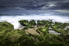 Rye Backwater Beach (Farhat M) Tags: beach rockpools summer victoria morningtonpeninsula clouds rain ocean water waves moss rocks canon 5dmkiv leefilters
