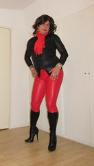red leather, tight boots and a black cat top (Barb78ara) Tags: boots highheels stilettoheels stilettohighheels stilettoboots tightboots highheelboots leatherlook leatherlookleggings tightleather leather redleather animalprint blackanimalprinttop blackcat scarf redscarf tighttop