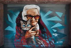 """Curtain-portrait """"ASK"""" (Luna's foto) Tags: portrait ch centro méxico local negocio conrtina courtain abuela grandma gato cat cdmx graffiti pinta"""