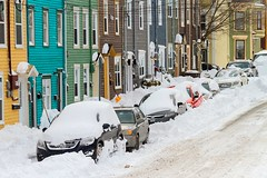 Snowed In (Karen_Chappell) Tags: snow winter january nfld newfoundland stjohns downtown city urban eastcoast avalonpeninsula atlanticcanada canada rowhouse jellybeanrow houses house colourful multicoloured colours yellow blue green red brown snowing snowy cold cars street