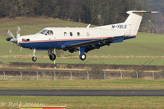 M-YBLS Pilatus PC-12 Private Glasgow airport EGPF 12.01-17 (rjonsen) Tags: plane airplane aricraft turboprop approach arrival landing