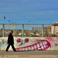 grrrr..... (archifra -francesco de vincenzi-) Tags: archifraisernia francescodevincenzi urbanart urbandetail street sagoma muro murales azzurro cielo passi colore graffiti people