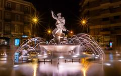 Neptuno (Tiago Lourenco) Tags: neptune statue night lisbon portugal light street rua ruas mitology mitologia tridente water água fonte fountain
