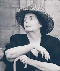 Portrait (Natali Antonovich) Tags: portrait sweetbrussels brussels monochrome reverie stare hat hats relaxation grandplace lifestyle femininity belgium belgique belgie