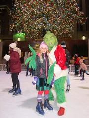 Violet And The Grinch (Joe Shlabotnik) Tags: manhattan iceskating violet rockefellercenter newyorkcity skating december2016 nyc grinch 2016 60225mm