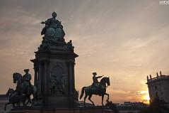 Vienna sunset (kana movana) Tags: vienna wien city town monument maria theresa sunset austria europe sky horse horseman gloaming d90 dusk twilight street outdoor landscape urban