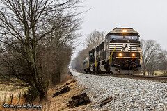 NS 6921 | EMD SD60E | NS Memphis District (M.J. Scanlon) Tags: rail railroad railway engine locomotive track power horsepower train transportation work outdoor outdoors vehicle unit scanlon canon 7d wow rural countryside fayette county piperton tennessee highway 57 winter freight car boxcar fra federal association dotx ns 6921 7026 metroliner conversion passenger gloomy cold