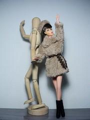 """Fur Glamour"" Outfit (doll4life14) Tags: fashion turn fur mod doll handmade ooak coat barbie twist mattel"