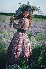 In the fields (missnayada) Tags: portrait woman flower beauty field beautifull
