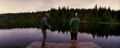 fishing at lizard lake (whiplash.girlchild) Tags: lake film nature vancouverisland horizon202 filmphotography lizardlake