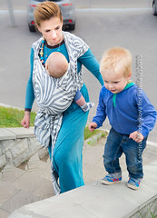 Shebra Smoke (Gingertail) Tags: city family blue summer relax happy grey kid child russia outdoor smoke lifestyle wrap babywearing sling zebra siren carry hemp comfy vladimir femine fidella shebra katerinamezhekovaphotography