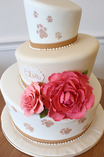 Topsy Turvy Paw Print Pink Peonies Wedding Cake
