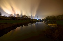 Redhill Marina (Sam Tait) Tags: redhill marina ratcliffe soar river navigable waterway inland boat boats power station cooling tower towers night photography winter 2016