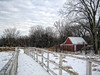a thousand steps in the snow (LotusMoon Photography) Tags: winter snow snowcovered boardwalk fence cottage cabin red sky clouds nature itasca trees dupage illinois landscape annasheradon lotusmoonphotography springbrooknaturecenter outdoor