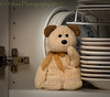 Shhhh (HTBT) (13skies) Tags: teddybeartuesday dishes cupboard surprise up fooling shhhh playingaround happyteddybeartuesday broen funny amusing cuddle lovable bear tuesday