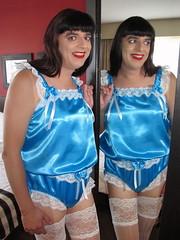 Twins (Paula Satijn) Tags: sexy hot girl gurl tgirl teddy playsuit lingerie satin silk silky shiny blue white lace stockings legs stockingtops sissy fun feminine