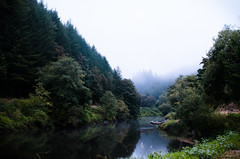 Waking up to the Yaquina River, Oregon (DrewGaines) Tags: yaquina river oregon elk city newport coast ocean fog boat reflection nature landscape toledo camp camping morning light drew gaines drewgaines pacific northwest