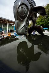 Orca Plunge (DCZwick) Tags: orca sculpture reflection aquarium vancouver bc britishcolumbia canada pentaxk3 sigma816 ultrawide uwa