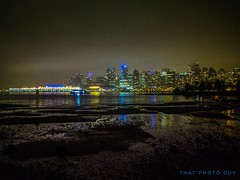 """Just as a painter paints and a ponderer ponders; a writer writes and a wanderer wanders."" (gwrdhqsd3) Tags: stanleypark vancouver nightphotography thatphotoguy coalharbour downtownvancouver rain lowtide skyline citylights vamcouverbc canada beautifulbc"