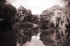 Newsham Park (VisualTheatrics) Tags: liverpool landmarks landscape landscapes local pond lake nature trees water sepia blackandwhite photography project photograph reflections reflection