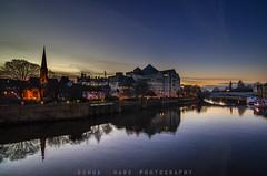 Dusk River Ouse (JoshuaSYChang) Tags: dusk twinlight goldenhour river york yorkshire uk water landscape light city reflection mirror magichour nikon d7000 tokina hdr