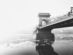 Chain Bridge in Fog (bakobela) Tags: hungary budapest chainbridge danube fog winter river street blackandwhite reflection