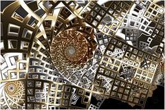 Bending the Rules (Ross Hilbert) Tags: fractalsciencekit fractalgenerator fractalsoftware fractalapplication fractalart algorithmicart generativeart computerart mathart digitalart abstractart fractal chaos art mandelbrotset juliaset mandelbrot julia orbittrap metal sculpture spiral squares copper brass steel