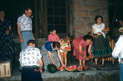 Ruth and Dave Conner, Azalee Shumaker, Susan Conner, Square Dance Club watermelon picnic Bartlett Park Middlesboro KY July 1954.jpg (buddymedbery) Tags: years daveconner ruthconner friends 1954 unitedstates kentucky middlesboro 1950s