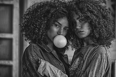 1 White Balloon, Two for it. (Anoop Negi) Tags: models two black white bnw mirian quadros masha girls beautiful faces brazil azerbaizen sexy story racism beauty concept bigotry generation y z monochrome anoop negi photography freckles makeup series ezee123