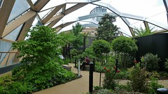 roof garden on the Crossrail Station at Canary Wharf. (helenoftheways) Tags: uk people green london sitting sit canarywharf seated roofgarden crossrail